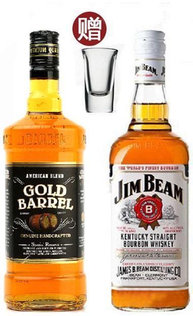 肯塔基金桶威士忌白占边波本威士忌进口洋酒组合套餐