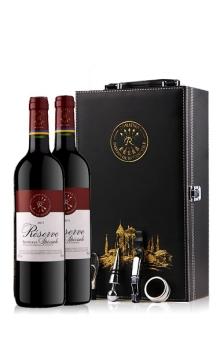 珍藏波尔多法定产区红葡萄酒(拉菲罗斯柴尔德集团荣誉出品)双支礼盒(烫金版礼盒)